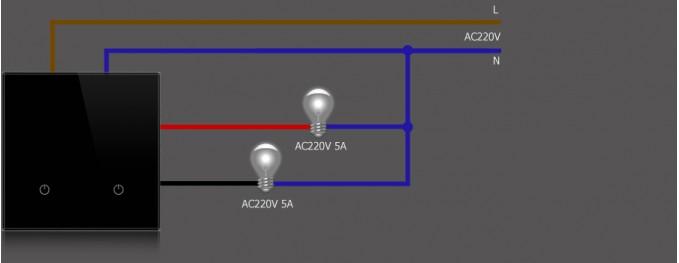 Проводной двухкнопочный выключатель DeLUMO - схема подключения.